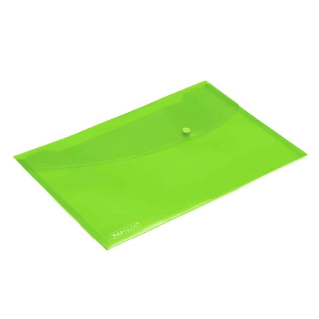 Bright Transparent Popper Wallet Foolscap Green