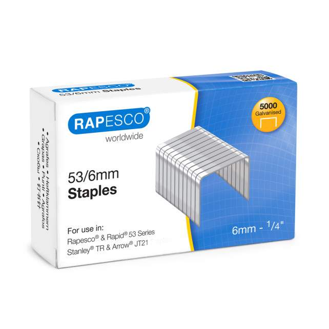 53/6mm Galvanised Staples (box of 5,000)