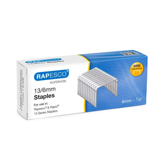 13/6mm Galvanised Staples (box of 5,000)