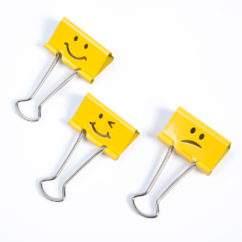 Emoji Smiley Foldback Clips - Yellow