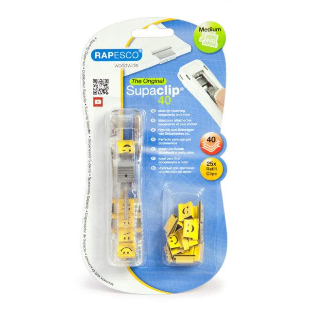Supaclip® #40 See Through Dispenser & 25 Emoji Clips