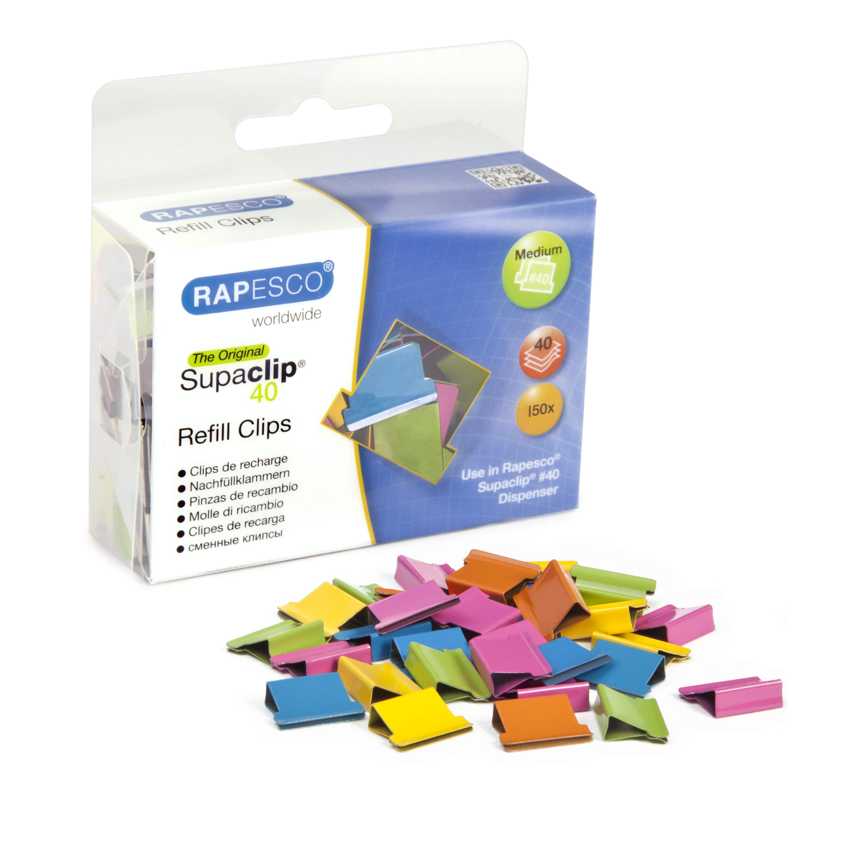 supaclip u00ae  40 dispenser  u0026 150 multi coloured refill clips